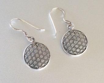 Sterling Silver Geometric Circle Earrings