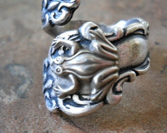 Frog Spoon Ring in Silver***, The ORIGINAL Exclusive Design Only by Enchanted Lockets