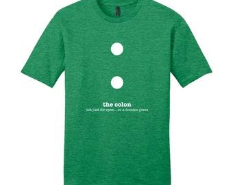 Colon Grammar Shirt Punctuation Shirt English Teacher Men's Grammar Shirt Gifts for Teachers Geek Cool Funny T Shirt Nerdy Typography Tshirt