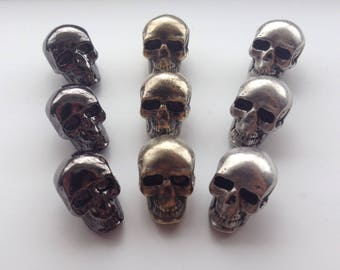 WHOLESALE Skull buttons - silver, brass or black - wholesale price