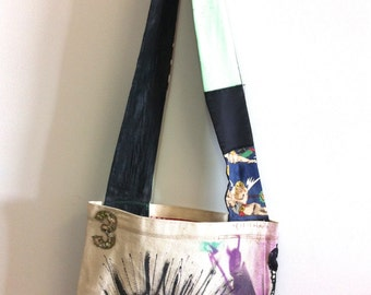 Odilia the Punk Rock Cyclops - low slung customized canvas tote