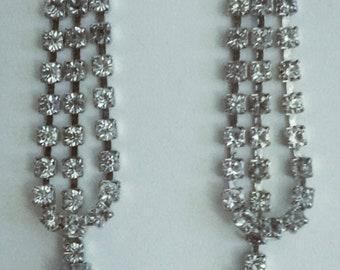 Vintage Rhinestone Silver Chandelier Earrings