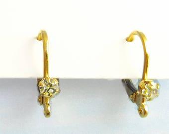Gold Earwires, 6 pcs Leverback European Rhinestone Crystal Earwire M-153