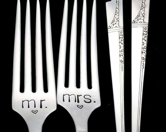 Mr Mrs Fork, Stamped Wedding Silverware Engraved Forks  Engagement Wedding Gift Something Old, Gifts Under 30,  Lovely Lady