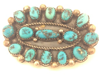 Vintage Turquoise and Sterling Silver Broach Pin by Jim Yazzie