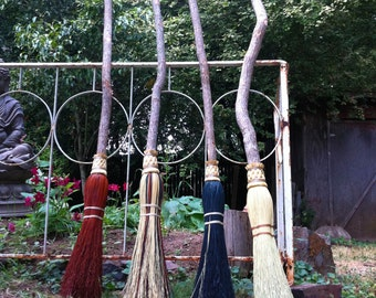 Witch's Besom  in your choice of Natural, Black, Rust or Mixed Broomcorn - Magical Broomstick - Witch's Broom