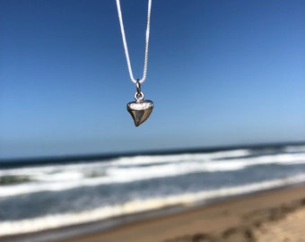 Shark tooth necklace sterling silver tiny minimalist replica on your choice of chain options box ball adjustable