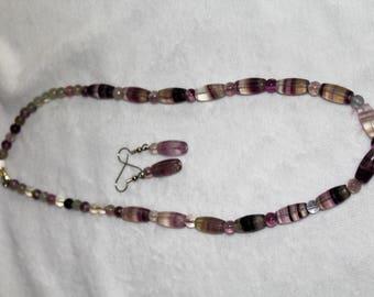 18 inch Purple Fluorite Necklace with earrings