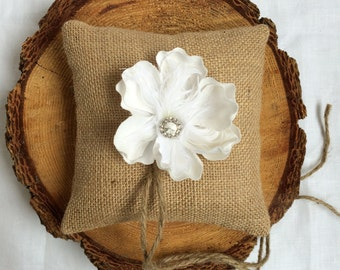 Ring bearer pillow with feather flower, rustic wedding decor, vintage wedding, cottage chic
