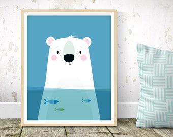 Nursery wall art - Polar bear print, Scandinavian kids art, animal nursery, nursery print, kids wall art, cute bear print, nursery decor