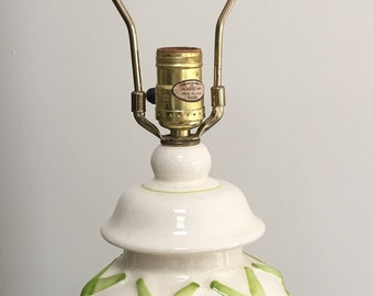 Vintage Green and White Faux Bamboo Ceramic Lamp