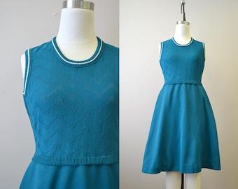 1970s Teal Knit Dress