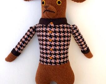 Red Brown Dog Boy in Fancy Jacket doll plush wool