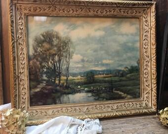 Vintage C.P. Appel Lithograph/American Artist/Landscape/Original Wood Frame