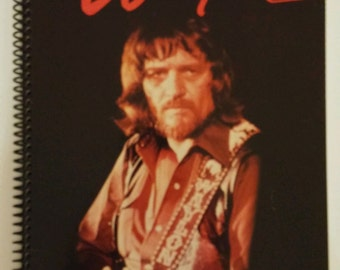 """Waylon Jennings Spiral Notebook Hand Made from Recycled Vinyl Record Album Cover """"I've Always Been Crazy"""""""