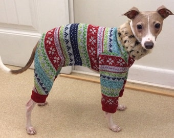 "Dog Pajamas. ""Ugly Christmas Leisure Suit"" - Italian Greyhound and small dog sizes"