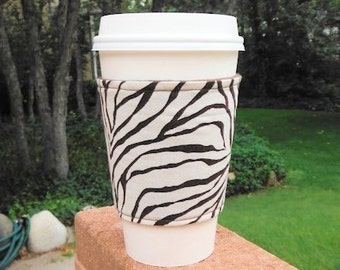FREE SHIPPING UPGRADE with minimum -  Fabric coffee cozy / cup holder / coffee sleeve  / tea sleeve -- Wild Animal Print Zebra