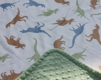 Minky Blanket White Dinosaur Print Minky with Light Green Dimple Dot Minky backing - Perfect gift for a Boy