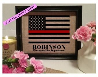 FRAMED Thin Red Line, American Flag, Firefighter Gift, Fire Department, Fireman Gift, Thin Red Line Gift, Gift for Firefighter, gift fireman