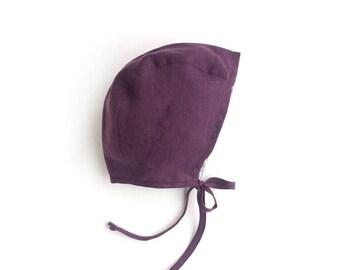 Reversible Purple/Floral Linen/cotton baby bonnet for babygirl