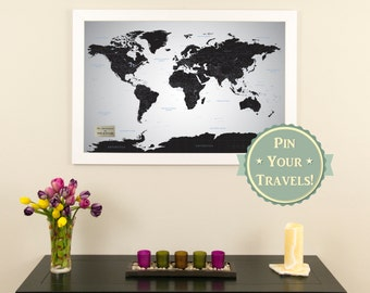 Earth toned world push pin travel map with pins personalized black ice world push pin travel map with pins and frame 24 x 36 gumiabroncs Images