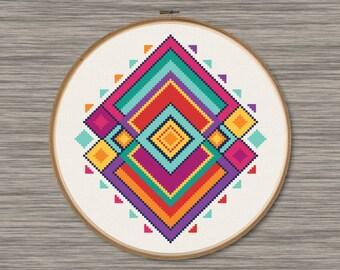 Abstract Diamonds - PDF Cross Stitch Pattern