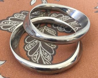 Mid Century Chrome Silver Bangles (2)