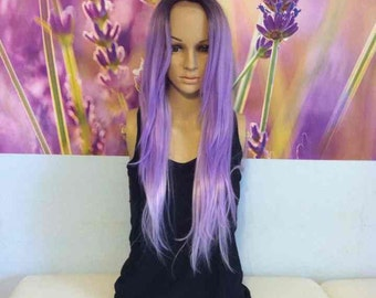 Ombre dark roots to lavender purple front lace Wig synthetic heat resistant 22'' straight hair.
