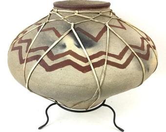 Tarahumara Indian Rawhide  Bound Poly Chrome Pottery Vessel,  Ca, 1970's #989