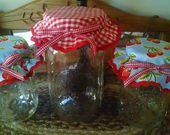 Set of 3 Mason Jar Bonnets/Toppers/Lid Covers- Lt. Blue Cherry