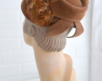 1960s Brown Felt and Feather Hat