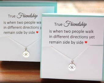 Graduation Gift for Best Friend, COMPASS necklace, compass charm, Friendship card, Thank you gift to friend, Best friend gift wedding gift