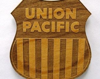 Union Pacific Railroad Logo Wooden Fridge Magnet - Large