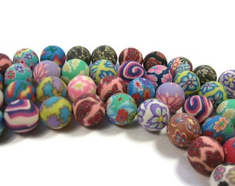 15mm Round Polymer Clay Beads Assorted Variety 50 Pieces