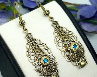 Art Nouveau Earrings Victorian Earrings Filigree Earrings Gold Earrings Elegant Earrings Antique Brass Earrings Vintage Inspired Earrings