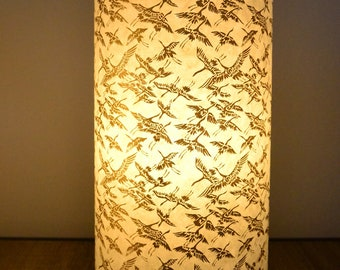 Lamp handmade with a japanese paper with golden cranes - handmade in France