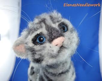Kitten, striped cat, handmade, wool, felt