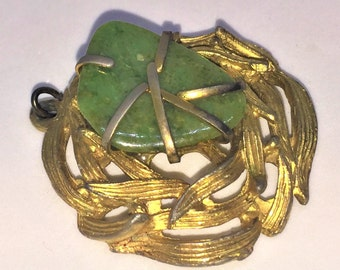 Brushed Gold Green Stone BSK Woven Pendant Nest-Like Wreath Signed 1 1/2""