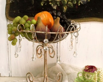 Vintage rusted wire fruit bowl with glass pendants