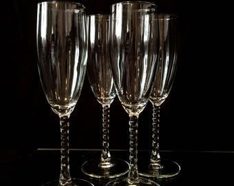 Twisted Stem Champagne Flutes (set of 4)