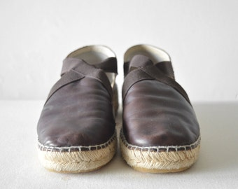 vintage brown leather espadrilles with elastic details chunky woven sole shoes