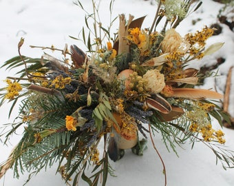 dried flower bouquet, yellow dried bridal bouquet, mustard bridal bouquet, gold bridal bouquet, witch hazel bouquet, rustic bridal bouquet