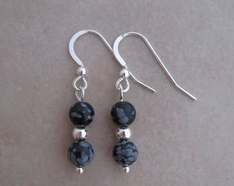 earrings snowflake obsidian sterling silver dangle