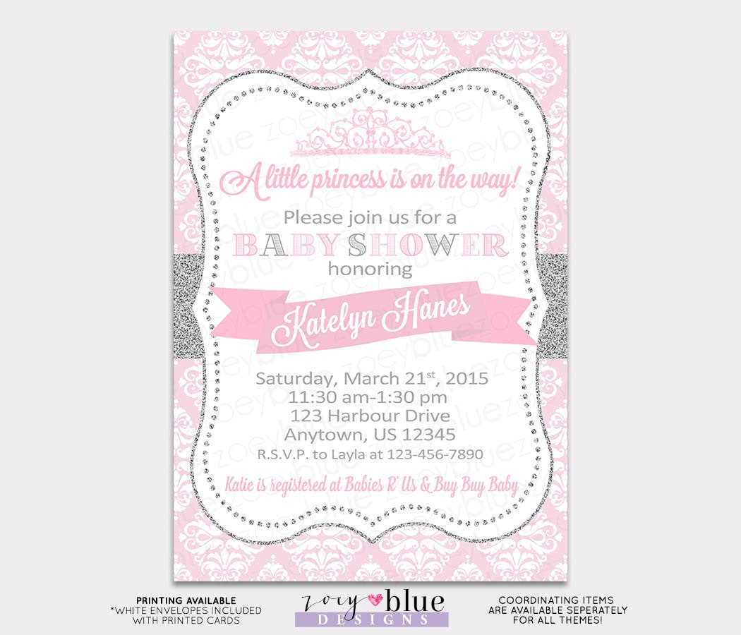 Princess Baby Shower Invitation Pink Damask Silver Glitter