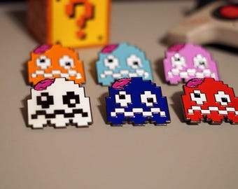 "Zombie Pac-Ghost Retro Game Enamel Pin - ""Scaredy"""