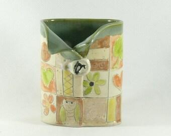 Ceramic Soap Dispenser, Oval Vase, 9th Anniversary Gift, Toothbrush Holder, Pencil Holder Desk Organizer, Pen Holder, Office Accessories