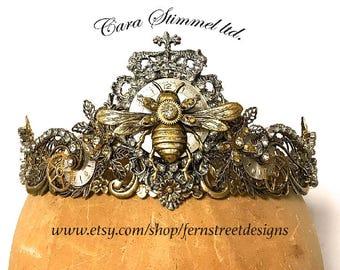 Queen Bee Steampunk Tiara - Steampunk Jeweled Crown - Bridal Jeweled Tiara