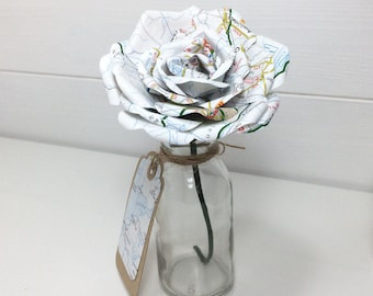 Map Paper Flower 'Bloom in a bottle' with matching gift tag Gift Thank You Table Decoration Shelf Sitter Home Decor 1st Anniversary