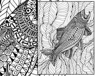 adult coloring page, adult coloring sheet, ocean colouring sheet, beach adult colouring book, printable sea coloring, digital coloring page