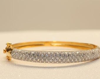 3ct Round Cut Diamond Bracelet Bangles In 18k Yellow Gold Tone